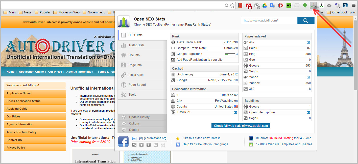 An example of the Chrome SEO Toolbar